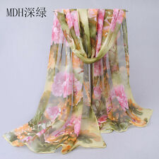 Pretty Women Long Soft green Scarf Wrap Chiffon Shawl Silk Scarves