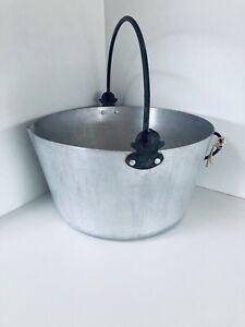 Vintage Large Solid Brass Cauldron Cooking Pot Preserve Pan Swing Handle