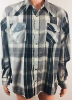 Vintage LEVI'S Shirt WESTERN Plaid Gray XL Pearl SNAPS Long Sleeve