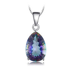 JewelryPalace Fire Rainbow Coated Quartz Pendant Necklace 925 Silver 18Inches
