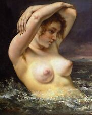 The woman in the waves by Gustave Caillebotte giclee Canvas Art Print