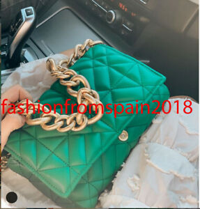 ZARA NEW WOMAN QUILTED MIDI SHOULDER BAG WITH CHAIN GREEN ONE SIZE  6227/710