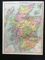 Antique Map Of Scotland C1910