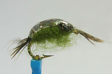 1 x Mouche peche Nymphe GAMMARE OLIVE DOS RESINE H12 fly fishing resin crevette