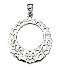 "Sterling Silver Filigree Disc Pendant,16"",925,Beginnings,P3909"