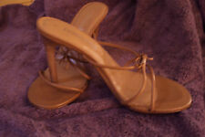 "womens shoes By Carabella Collection Tan  slim straps around toe area 4"" stacked"