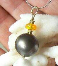 RARE 11.5mm TAHITIAN SOUTH SEA PEARL NATURAL ETHIOPIAN OPAL 14K GOLD PENDANT