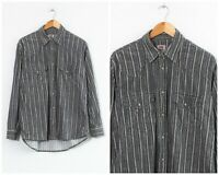 90s Vintage Mens LEVIS Corduroy Shirt Long Sleeve Striped Grey Size M