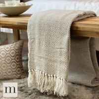 Eco Friendly Cotton Diamond Geometric Sofa / Bed Throw Blanket Natural Beige