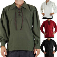 Men Pirate Gothic Medieval Musketeer Shirt Fancy Dress Standard Lace Up Summer