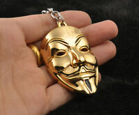 Gold V for VENDETTA Halloween Party Cosplay Guy Fawkes mask keyring Keychain New