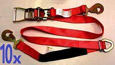 10x Race Car Trailer Tie Down Auto Car Hauler Ratchet Straps with Axle Strap RED