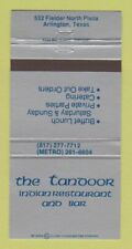 Matchbook Cover - The Tandoor Indian Restaurant Arlington TX 30 Strike
