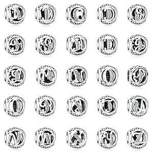 PANDACHARMS Alphabet Kugel Buchstaben Charm 925 Sterling Silber passt zu Pandora