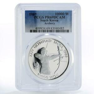 Korea 10000 won Seoul Olympic Games series Archery PR69 PCGS silver coin 1987