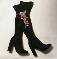 0c0dfe8096a Steve Madden Mozee Black Over Knee Suede Boots Sz 8 Foral Embroidered NEW  Womens