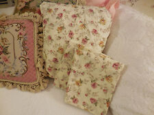 SHABBY FRENCH COTTAGE pink roses queen fitted sheet & 2 standard pillow cases