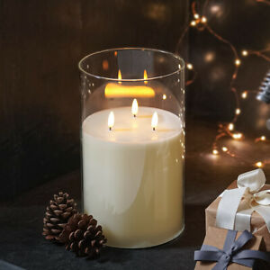 3 Wick Remote Control LED Flameless Real Wax Flickering Smoked Glass Candle