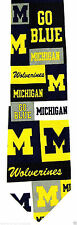Michigan Mens Necktie Wolverines College University Logo Blue Gift Neck Tie