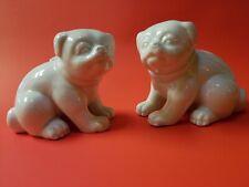 Pair Fitz And Floyd Vintage White Ceramic Chubby Pug Figurines