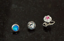 3 Pc Mixed Design 4mm Opal, Glitter, Multi C.Z. Dermal Anchor Heads 14G 1.6mm