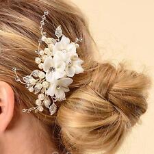 Ivory Silk Flower Bridal Wedding Hair Comb Pin Slide Pearl Crystal Diamante Clip