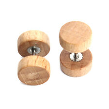 Allergy Free Wooden Graceful Ear Studs Natural Stainless Steel  Earrings 1Pair