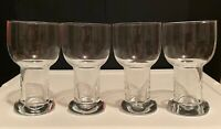 """Vintage Hand Blown Hollow Stem Clear Glass Beer Goblets 6.75"""" Tall Set of 4"""