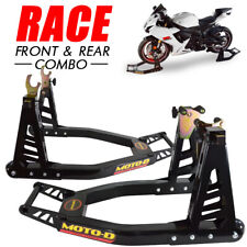 """MOTO-D """"Race"""" Aluminum Motorcycle Stands (Front + Rear) - Combo"""
