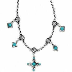 NWT Brighton INDIE CROSS Turquoise Howlite Silver Necklace MSRP $70
