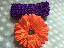 Orange Gerber Daisy Flower Clip Purple Headband Fall Halloween Portrait Photo