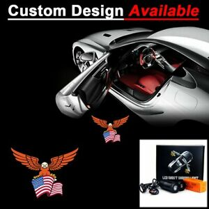 2pcs Car Logo US Eagle LED Laser Projector Ghost Shadow Welcome Lights Lamps