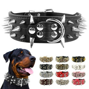 "2"" Spiked Studded Pet Dog Collar Soft PU Leather Adjustable for Medium Large Dog"
