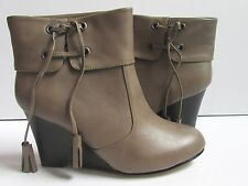 Madden Girl Tan Ankle BootTassel With Wedge High Heel Size 8 New
