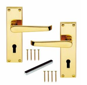 Door Handles LOCK Brass Finish Modern Victorian Straight Internal External D1