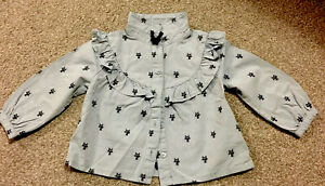 NEXT Baby Girl Ruffled Blouse / Shirt 9-12 Months Cats Pattern Worn Twice VGC