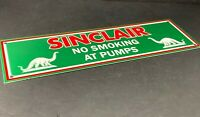 "VINTAGE SINCLAIR NO SMOKING AT PUMPS DINO 16"" PORCELAIN METAL GASOLINE OIL SIGN!"