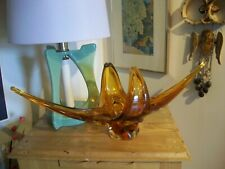 VINTAGE UNSIGNED CHALET BLOWN GLASS GONDOLA STYLE BOWL