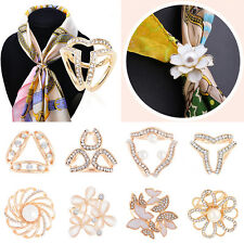 Women Gold/Silver Rhinstone Crystal Silk Scarf Buckle Ring Holder Scarf Clip
