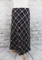 PER UNA lined midi skirt Size 12 R regular black white boucle check M&S