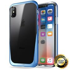 For iPhone X [Metallic Coating] Hybrid Bumper Case Poetic Lucent TPU Cover Blue
