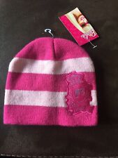 BNWT Sports Direct BARBIE 2 Tone Pink Glittery Embroidered STRIPED BEANIE Hat