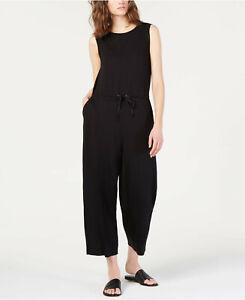 $318 Eileen Fisher Black Stretch Jersey Tencel Drawstring Jumpsuit  L, XL