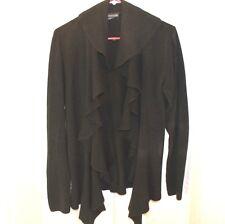 Black Cardigan Sweater Women's Large L Covington Ruffle front Long Sleeve