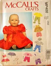 "McCall MP400 Baby Doll Clothes Accessories 11""-12"" & 15""-16"" Pattern UNCUT"