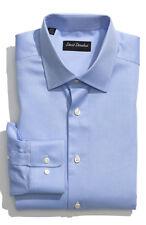 $135 NEW MEN'S DAVID DONAHUE BLUE REGULAR FIT DRESS SHIRT 17.5 32/33