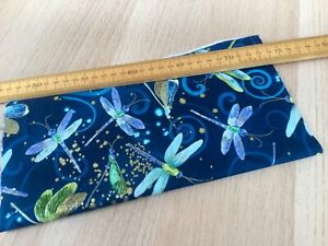 SALE Bolt End 25cm x 110cm 100% cotton fabric midnight blue Dragonfly Dance