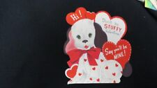 Vintage Stuffed Puppy Valentine Card c. 1950s unsigned
