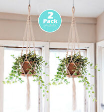 2X Vintage Macrame Plant Hanger Garden Flower Pot Holder Hanging Rope Basket ZX