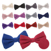 DQT New Suede Solid Plain Wedding Formal Casual Adjustable Pre-Tied Mens Bow Tie